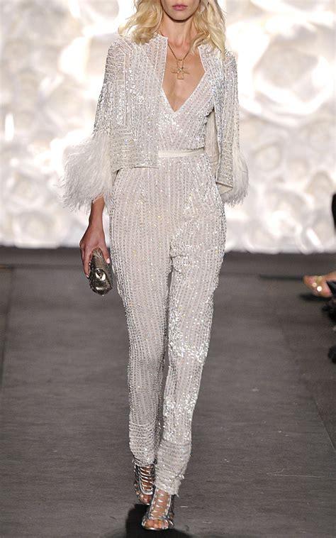 beaded jumpsuit naeem khan white linear beaded jumpsuit in white lyst
