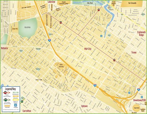 new orleans city map new orleans mid city map