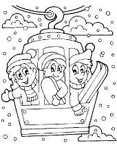 winter break coloring page winter printables for kids sledges snowman snow battle