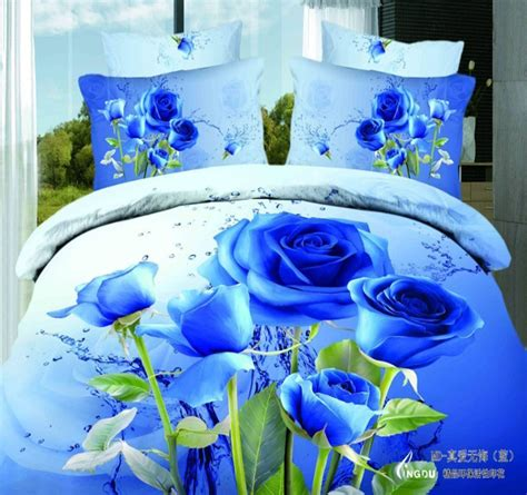 blue rose comforter set unique blue rose 3d bedding set queen size 4pcs flowers