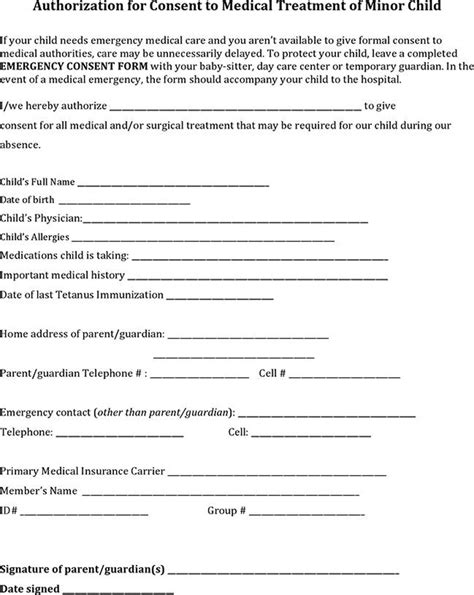 consent to treat form template child consent form free premium