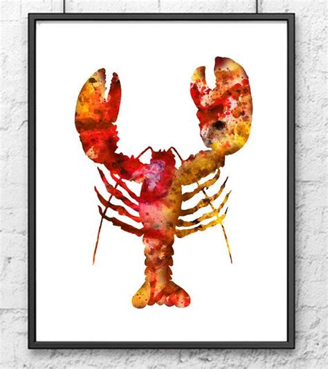 watercolor crab painting lobster print sea by thenobleowl 15 00 room ideas