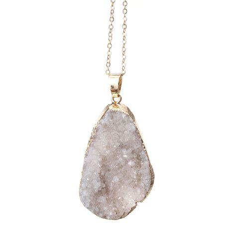 Irregular Pendant Necklace irregular quartz gemstone pendant necklace