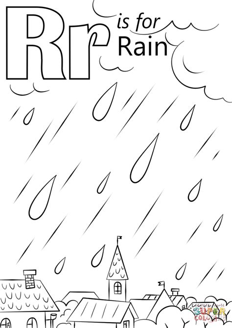 Letter R Is For Rain Coloring Page Free Printable A Is For Coloring Pages