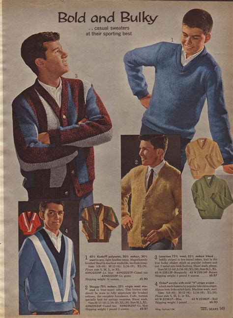 vintage boys casual sweaters from a 1964 catalog