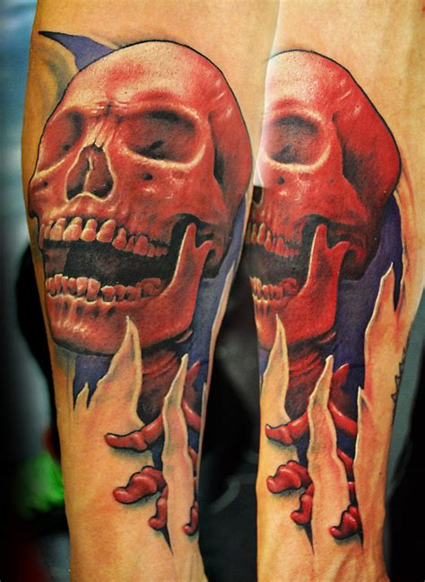 red skull tattoo skull by joshing88 on deviantart