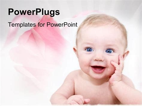 Powerpoint Template Happy Baby With Pink Roses For Family On White Background 2513 Baby Powerpoint Templates
