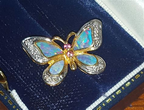 vintage 14k opal butterfly pendant for necklace