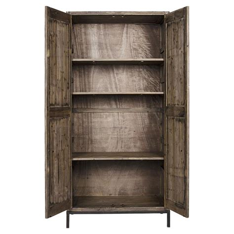 Distressed Wood Hutch deandre global bazaar distressed wood rustic hutch kathy kuo home