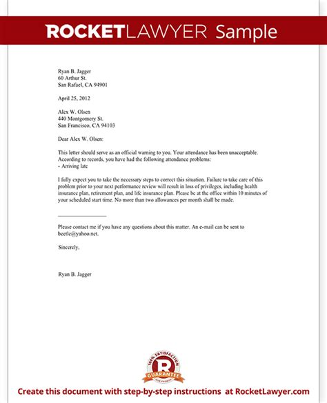 Official Warning Letter Template Speeding Employee Warning Letter Warning Letter To Employee With