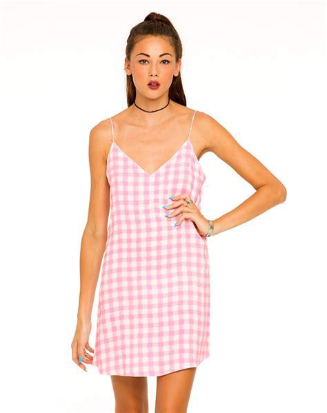 Dress Slid Pink buy motel mini slip cami dress in pink gingham at motel rocks motel rocks