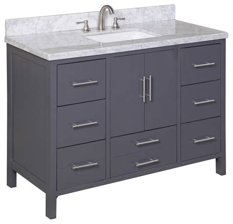 Bathroom Vanities California California 48 Quot Bath Vanity Carrara Charcoal Gray Transitional Bathroom Vanities And Sink Consoles