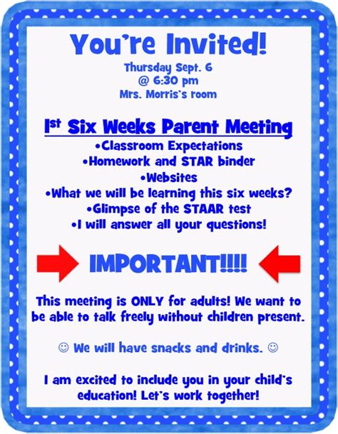 Invitation Letter To Parents For Pta Meeting Letter To Parents Inviting Them To Attend A Pta Meeting Invitations Ideas