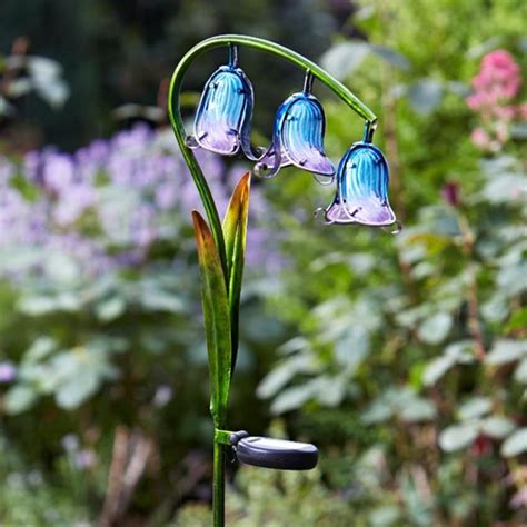 glass flower solar lights solar glass bluebells flower lights 2 pack