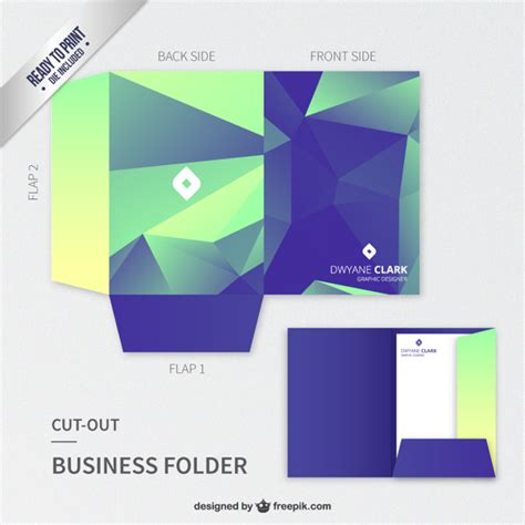business folder template polygonal cut out business folder vector free