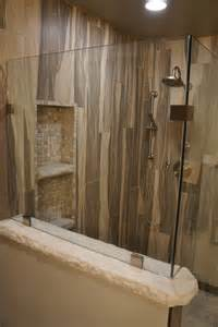 Travertine Shower Ideas wood grain shower tile rustic other by jake built llc