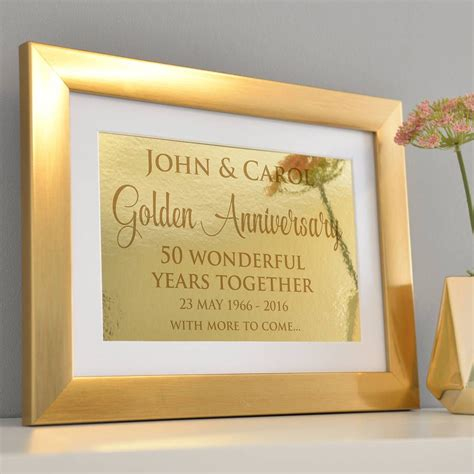 Golden Wedding Anniversary Cards Uk by Personalised Golden Wedding Anniversary Framed Print