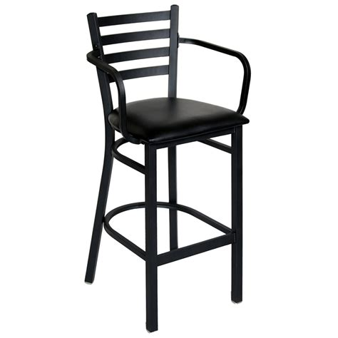 Bar Stool With Arms And Back Furniture Black Metal Bar Stool With Back And Arms Padded Seat Design Terrific Metal Bar
