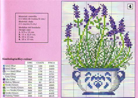 schemi punto croce fiori di lavanda vaso di fiori di lavanda da ricamare gratis magiedifilo