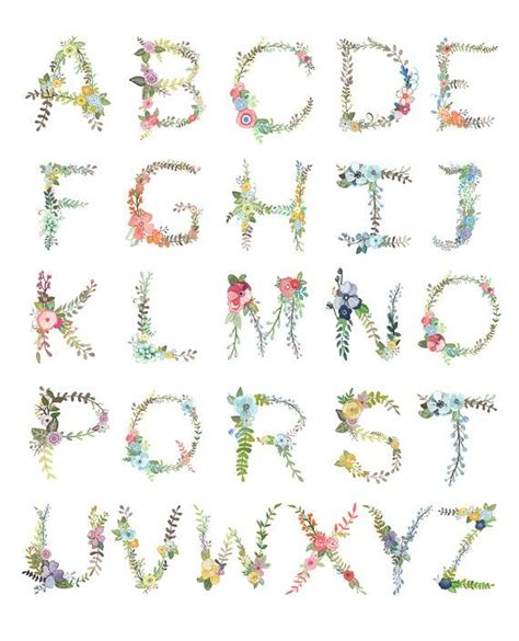 Printable Alphabet Letters With Flowers | floral alphabet print