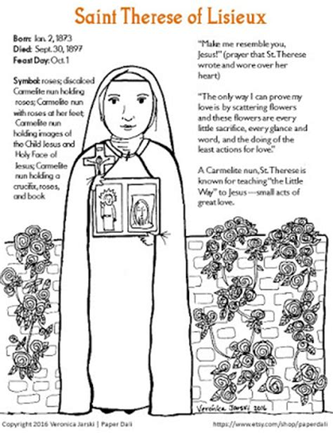 paper dali saint therese of lisieux coloring page free