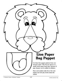 lion paper bag puppet pattern 2015 vbs pinterest