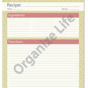 Recipe Page Template by Recipe Card Page Recipe Template From Organizelife On