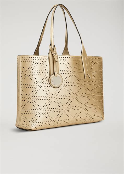Faux Leather Tote With faux leather tote bag with pendant for emporio armani