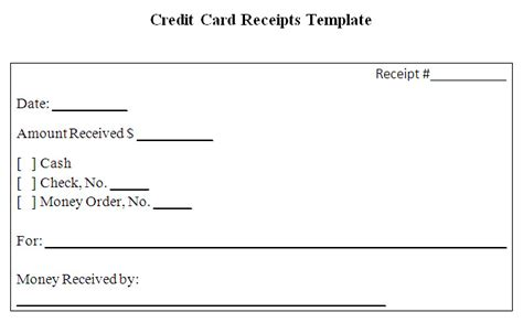 credit card payment receipt template credit card receipt template