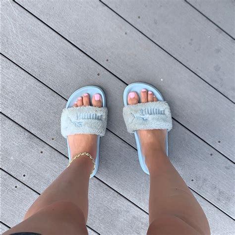 puma shoes rare baby blue fenty puma fur  color