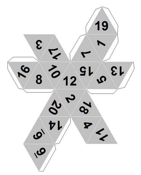 Printable D20 Dice | dicecollector com s paper dice templates