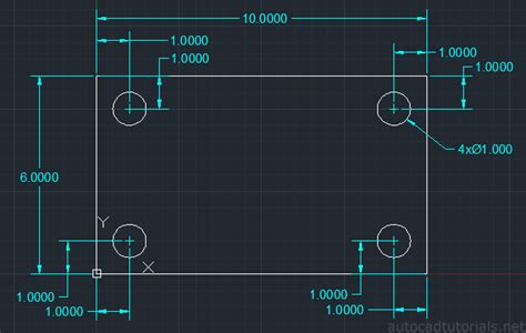 tutorial autocad net how to draw plate with screw hole