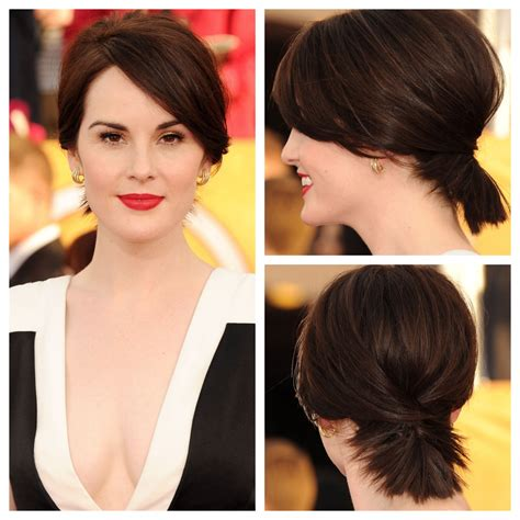 ponytail with an a line cut stylenoted michelle dockery