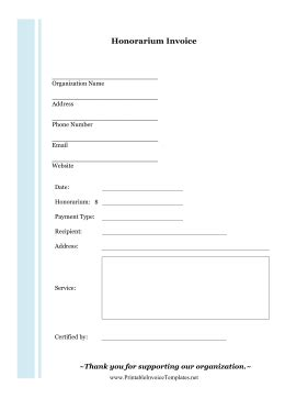 honorarium invoice template