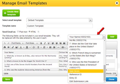 Add Quiz Score To Custom Email Templates 123formbuilder Help Custom Email Templates