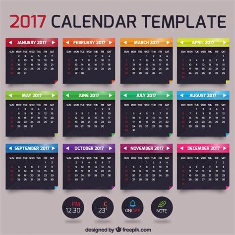 Calendario Mensual 2017 Plantilla De Calendario Mensual 2017 Descargar Vectores