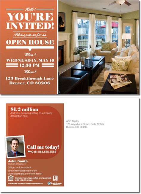free open house post card templates open house invitation postcard