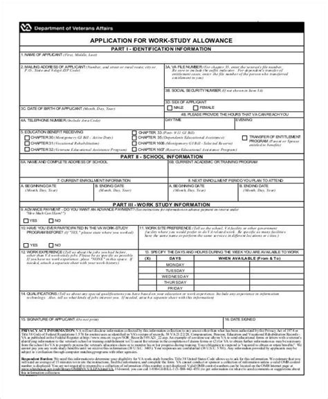 work application sle forms 7 free documents in doc pdf