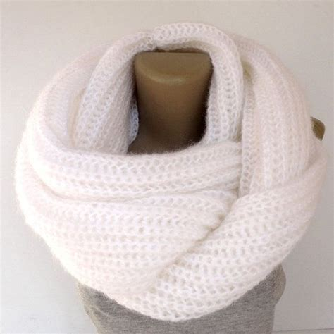 knitted white scarf chunky white infinity scarf knitted scarves unisex