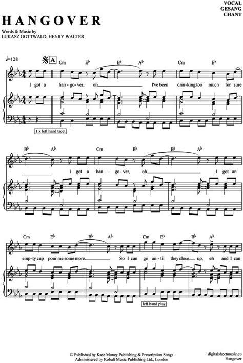 Hangover (Klavier + Gesang) Taio Cruz [PDF Noten