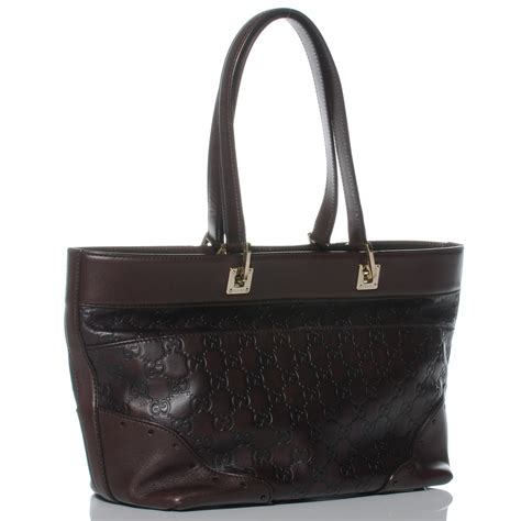 Gucci Big Punch Tote by Gucci Guccissima Large Punch Tote Chocolate Brown 42138