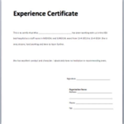 Work Experience Letter Pattern Sle Letter Microsoft Word Templates