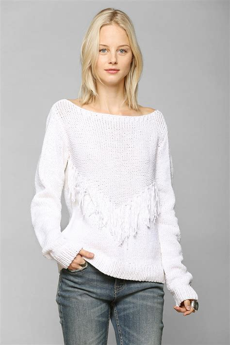 Fringed Hollow Sweater Black White lyst outfitters ophelia moon fringe sweater