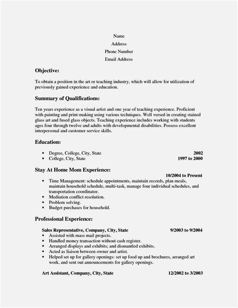 exle resume for stay at home reentering workforce cv objective exle going back to work resume