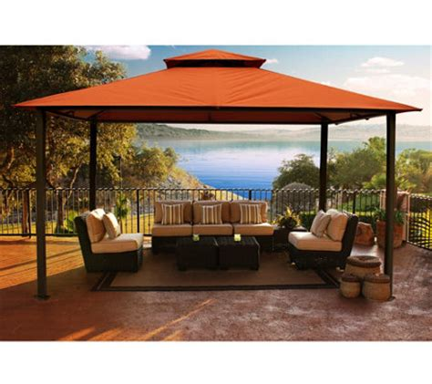 sunbrella canopy pergola stc valencia vented gazebo w all weather uv sunbrella canopy page 1 qvc