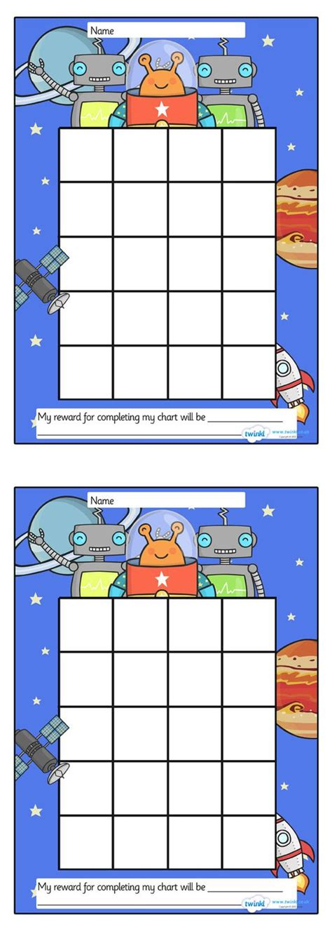 printable incentive charts for school twinkl resources gt gt space sticker st reward chart
