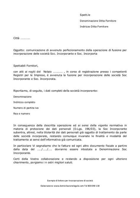 lettere di cambio lettera per incorporazione di societ 224