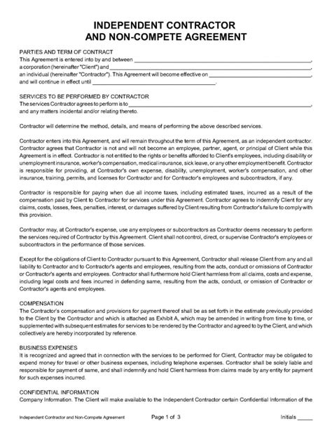 Independent Contractor And Non Compete Agreement Nevada Legal Forms Tax Services Inc Independent Contractor Employment Contract Template