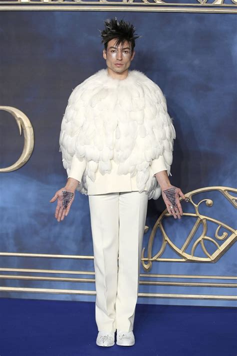 ezra miller outfits ezra miller dresses as hedwig for fantastic beasts premiere