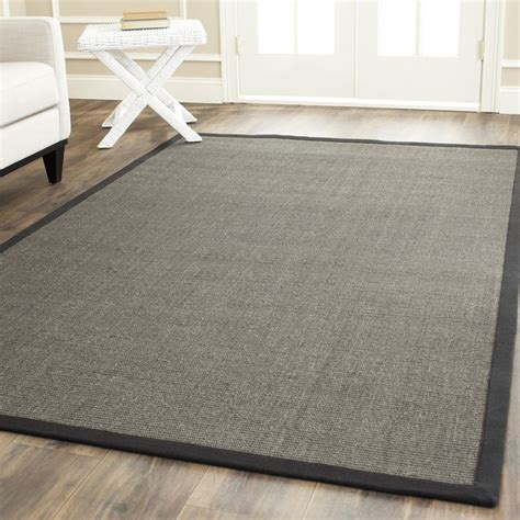 square sisal rug safavieh casual fiber woven serenity charcoal grey sisal rug 8 square by